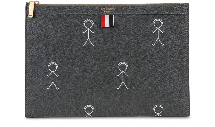 탐 브라운 태블릿 파우치 Thom Browne Small zippered tablet holder,dark grey